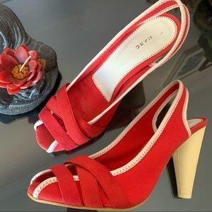 NWOT Marc Jacobs red sling back canvas heels